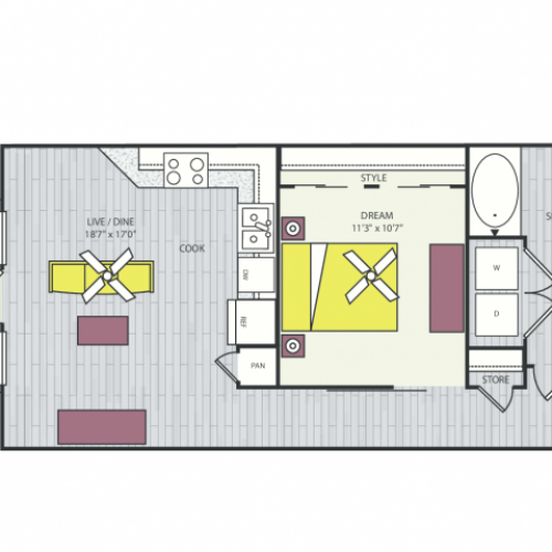 A3 Floor Plan | 1 Bedroom with 1 Bath | 757 Square Feet | Routh Street Flats | Apartment Homes