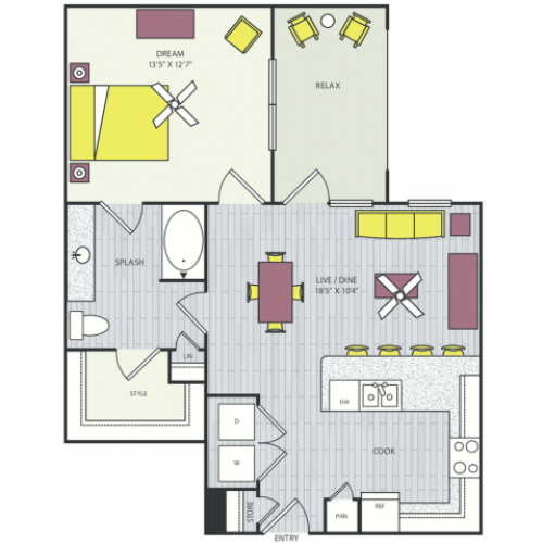 A12 Floor Plan | 1 Bedroom with 1 Bath | 785 - 786 Square Feet | Routh Street Flats | Apartment Homes