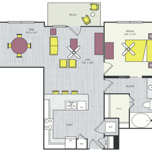 A14 Floor Plan | 1 Bedroom with 1 Bath | 853 Square Feet | Routh Street Flats | Apartment Homes