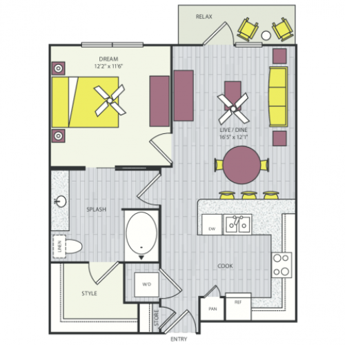 A10a Floor Plan | 1 Bedroom with 1 Bath | 720 Square Feet | Routh Street Flats | Apartment Homes