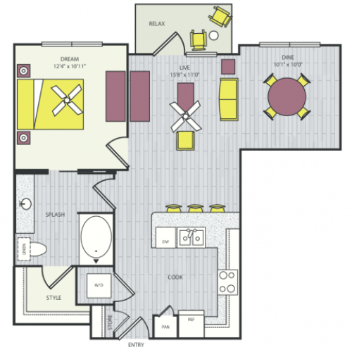 A11a Floor Plan | 1 Bedroom with 1 Bath | 781 Square Feet | Routh Street Flats | Apartment Homes
