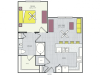 A2a Floor Plan | 1 Bedroom with 1 Bath | 691 Square Feet | Routh Street Flats | Apartment Homes