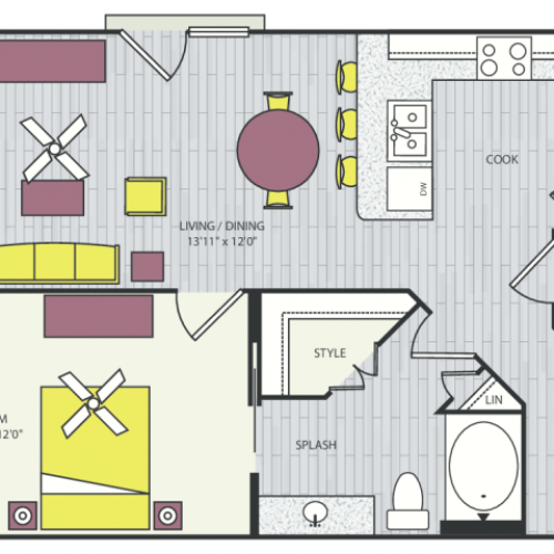 A5 Floor Plan | 1 Bedroom with 1 Bath | 847 Square Feet | Routh Street Flats | Apartment Homes