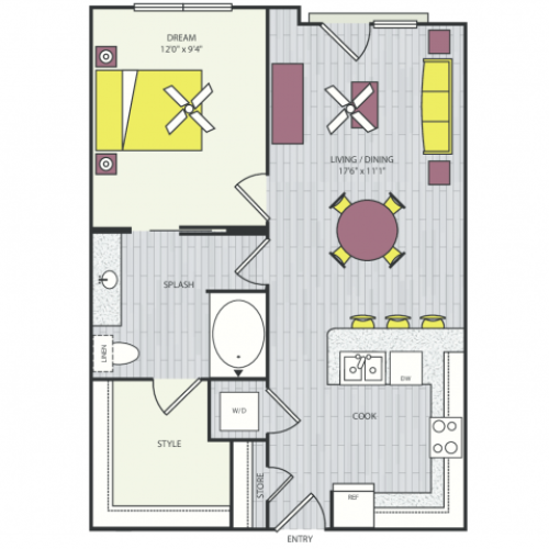 A7a Floor Plan | 1 Bedroom with 1 Bath | 658 Square Feet | Routh Street Flats | Apartment Homes