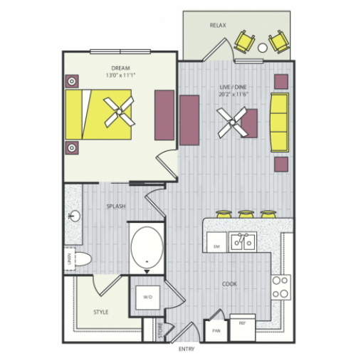 A1c Floor Plan | 1 Bedroom with 1 Bath | 674 Square Feet | Routh Street Flats | Apartment Homes