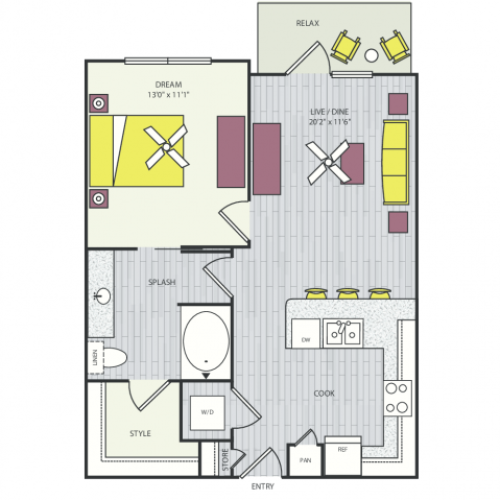 A1d Floor Plan | 1 Bedroom with 1 Bath | 888 Square Feet | Routh Street Flats | Apartment Homes