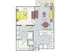 A10b Floor Plan | 1 Bedroom with 1 Bath | 715 Square Feet | Routh Street Flats | Apartment Homes