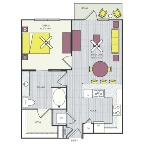A10d Floor Plan | 1 Bedroom with 1 Bath | 708 Square Feet | Routh Street Flats | Apartment Homes