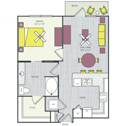 A10e Floor Plan | 1 Bedroom with 1 Bath | 718 Square Feet | Routh Street Flats | Apartment Homes