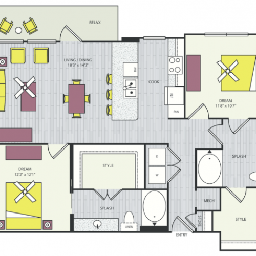 B5a Floor Plan | 2 Bedroom with 2 Bath | 1147 Square Feet | Routh Street Flats | Apartment Homes