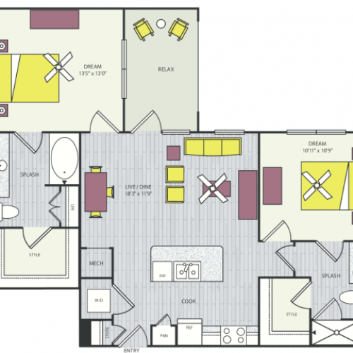 B1 Floor Plan | 2 Bedroom with 2 Bath | 1,041 - 1,042 Square Feet | Routh Street Flats | Apartment Homes