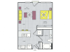 S1b Floor Plan | Studio with 1 Bath | 544 Square Feet | Routh Street Flats | Apartment Homes