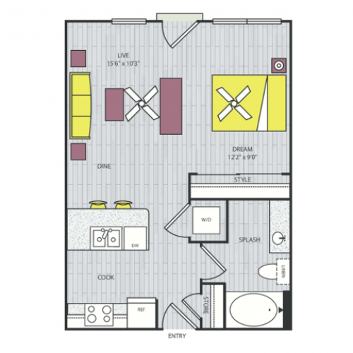 S1c Floor Plan | Studio with 1 Bath | 550 Square Feet | Routh Street Flats | Apartment Homes