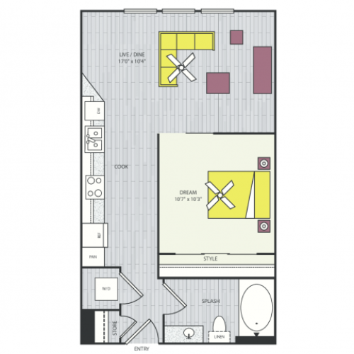 S2b Floor Plan | Studio with 1 Bath | 539 Square Feet | Routh Street Flats | Apartment Homes