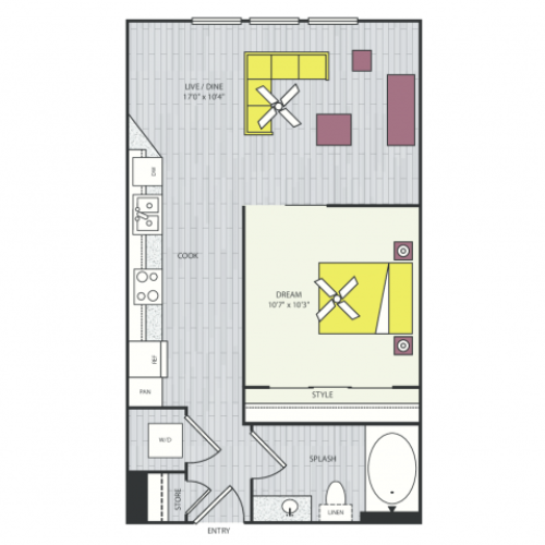 S2d Floor Plan | Studio with 1 Bath | 539 Square Feet | Routh Street Flats | Apartment Homes