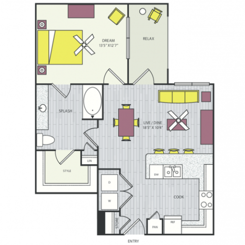 A13b Floor Plan | 1 Bedroom with 1 Bath | 766 Square Feet | Routh Street Flats | Apartment Homes