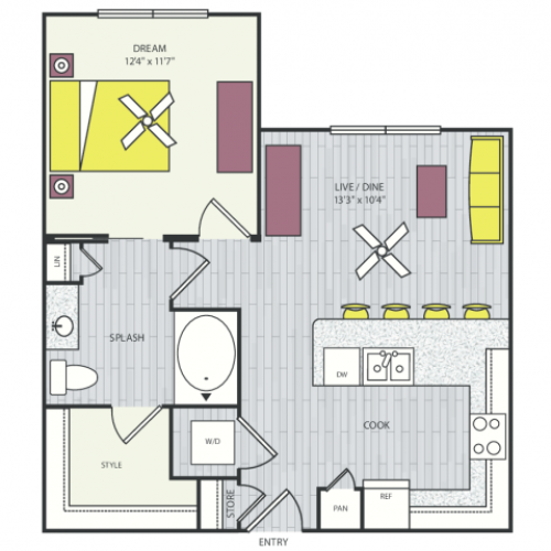 A2b Floor Plan | 1 Bedroom with 1 Bath | 685 Square Feet | Routh Street Flats | Apartment Homes