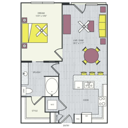 A4c Floor Plan | 1 Bedroom with 1 Bath | 711 Square Feet | Routh Street Flats | Apartment Homes
