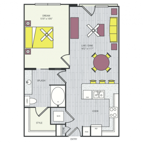 A4d Floor Plan | 1 Bedroom with 1 Bath | 705 Square Feet | Routh Street Flats | Apartment Homes