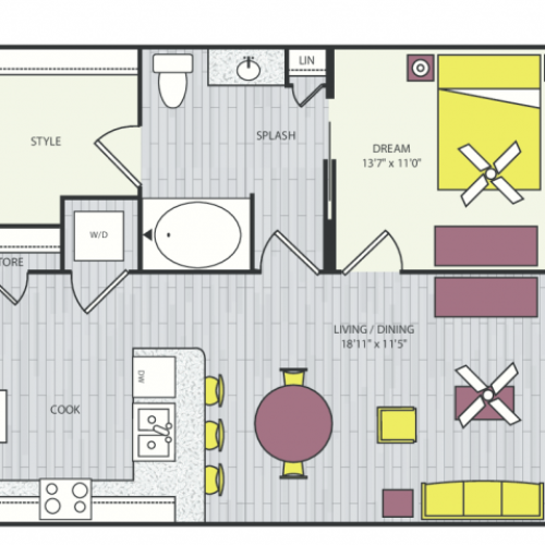A6b Floor Plan | 1 Bedroom with 1 Bath | 760 Square Feet | Routh Street Flats | Apartment Homes