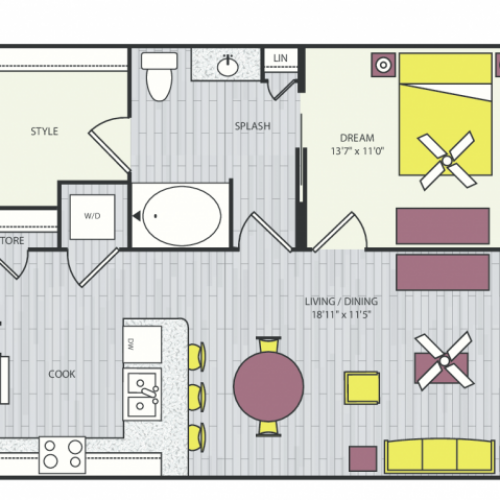 A6c Floor Plan | 1 Bedroom with 1 Bath | 774 Square Feet | Routh Street Flats | Apartment Homes