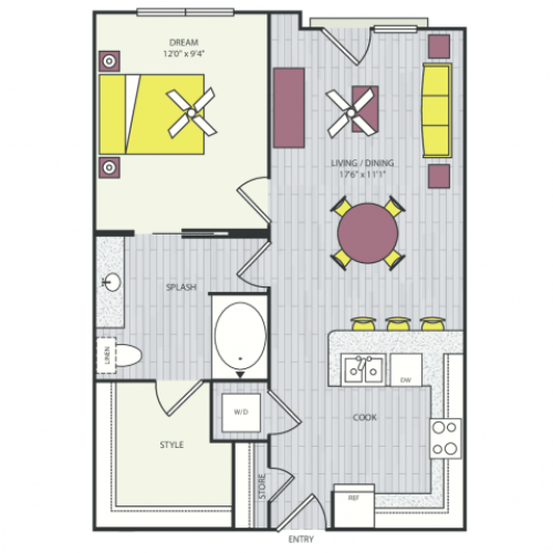 A7c Floor Plan | 1 Bedroom with 1 Bath | 616 Square Feet | Routh Street Flats | Apartment Homes