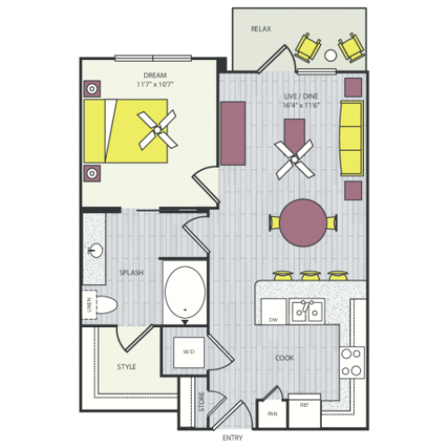A8b Floor Plan | 1 Bedroom with 1 Bath | 663 Square Feet | Routh Street Flats | Apartment Homes