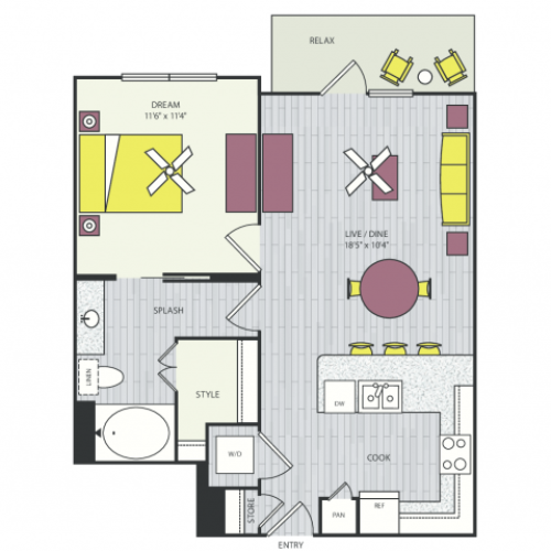 A9b Floor Plan | 1 Bedroom with 1 Bath | 741 Square Feet | Routh Street Flats | Apartment Homes