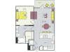 A9c Floor Plan | 1 Bedroom with 1 Bath | 732 Square Feet | Routh Street Flats | Apartment Homes