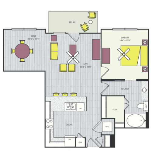 A14c Floor Plan | 1 Bedroom with 1 Bath | 833 Square Feet | Routh Street Flats | Apartment Homes