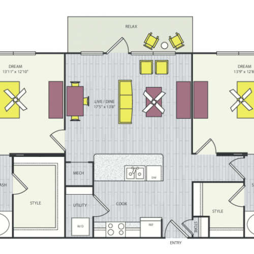 B2b Floor Plan | 2 Bedroom with 2 Bath | 1149 Square Feet | Routh Street Flats | Apartment Homes