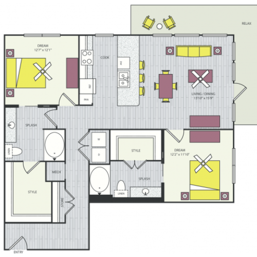 B4b Floor Plan | 2 Bedroom with 2 Bath | 1241 Square Feet | Routh Street Flats | Apartment Homes