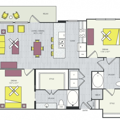 B5b Floor Plan | 2 Bedroom with 2 Bath | 1167 Square Feet | Routh Street Flats | Apartment Homes