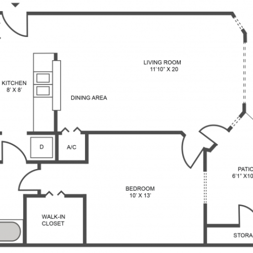 Birch Floor Plan | 1 Bedroom with 1 Bath | 642 Square Feet | The Arbors of Las Colinas | Apartment Homes