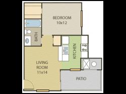 Aspen Floor Plan | 1 Bedroom with 1 Bath | 506 Square Feet | Cottonwood | Apartment Homes
