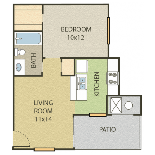 Aspen Floor Plan | 1 Bedroom with 1 Bath | 506 Square Feet | Cottonwood | Apartment Homes