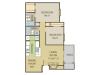 Cedar Floor Plan | 2 Bedroom with 2 Bath | 890 Square Feet | Cottonwood | Apartment Homes