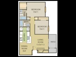 Cedar Floor Plan | 2 Bedroom with 2 Bath | 890 Square Feet | Cottonwood | Apartment Homes
