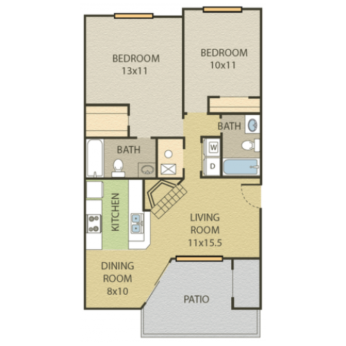 Willow Floor Plan | 2 Bedroom with 2 Bath | 921 Square Feet | Cottonwood | Apartment Homes