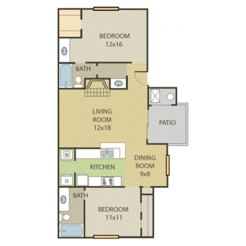 Maple Floor Plan | 2 Bedroom with 2.5 Bath | 964 Square Feet | Cottonwood | Apartment Homes