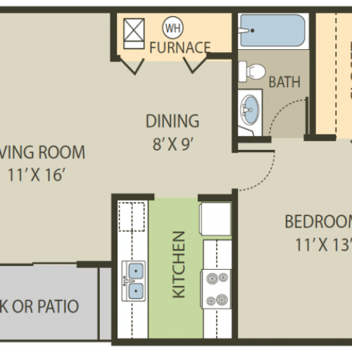 Deerfield Floor Plan | 1 Bedroom with 1 Bath | 642 Square Feet | Fox Point in Old Farm | Apartment Homes