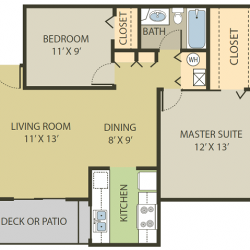 Berkshire Floor Plan | 2 Bedroom with 1 Bath | 818 Square Feet | Fox Point in Old Farm | Apartment Homes