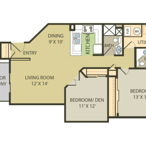 Chesapeake Floor Plan | 2 Bedroom with 2 Bath | 980 Square Feet | Fox Point in Old Farm | Apartment Homes