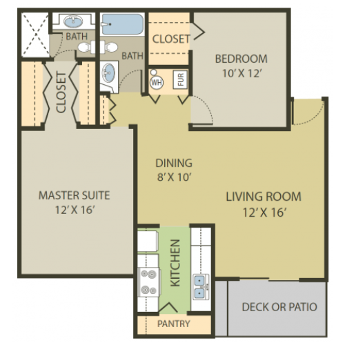 Somerset Floor Plan | 2 Bedroom with 2 Bath | 998 Square Feet | Fox Point in Old Farm | Apartment Homes
