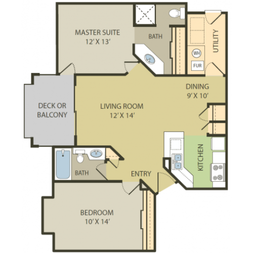 Bridgewater Floor Plan | 2 Bedroom with 2 Bath | 1008 Square Feet | Fox Point in Old Farm | Apartment Homes