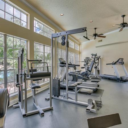 View of Fitness Center, Showing Cardio Machines, Cable Machines, and Window Views at The Regatta Apartments
