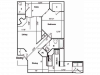B Classic Floor Plan | 1 Bedroom with 1 Bath | 880 Square Feet | Pavilions | Apartment Homes
