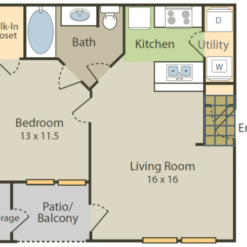 Degas Floor Plan | 1 Bedroom with 1 Bath | 655 Square Feet | Stonebriar of Frisco | Apartment Homes