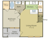 Degas A Floor Plan | 1 Bedroom with 1 Bath | 655 Square Feet | Stonebriar of Frisco | Apartment Homes
