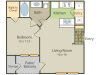 Degas B Floor Plan | 1 Bedroom with 1 Bath | 681 Square Feet | Stonebriar of Frisco | Apartment Homes